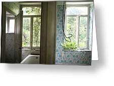 Bath Room Windows -urban Exploration Greeting Card