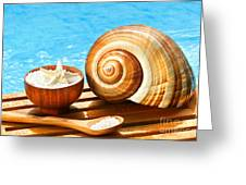 Bath Salts And Sea Shell By The Pool Greeting Card by Sandra Cunningham