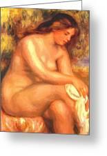 Bather Drying Her Leg Greeting Card