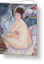 Bather  My Reproduction Of Renoirs Work Greeting Card