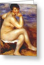 Bather With A Rock Greeting Card