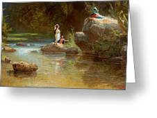 Bathers At The River. Evening In Orinoco? Greeting Card