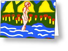 Bathing In A Mountain Stream Greeting Card