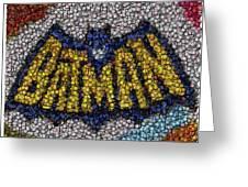 Batman Bottle Cap Mosaic Greeting Card