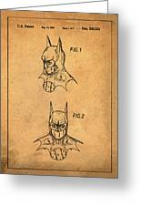 Batman Cowl Patent In Sepia Greeting Card