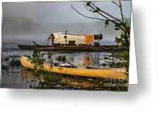 Batteau And Canoe In Fog At Galt's Mill 1708 Greeting Card