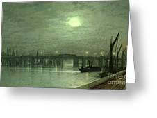 Battersea Bridge By Moonlight Greeting Card by John Atkinson Grimshaw
