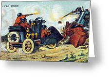 Battle Cars, 1900s French Postcard Greeting Card