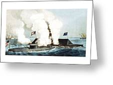 Battle Of The Monitor And Merrimack Greeting Card