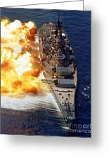 Battleship Uss Iowa Firing Its Mark 7 Greeting Card by Stocktrek Images