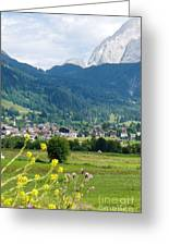 Bavarian Alps With Village And Flowers Greeting Card