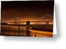 Bay Bridge At Night Greeting Card