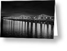 Bay Bridge San Francisco California Black And White Greeting Card