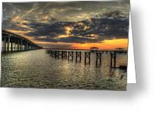 Bay Bridge Sunset Greeting Card