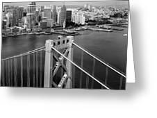 Bay Bridge Tower And San Francisco Skyline Greeting Card