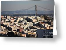 Bay Bridge With Houses And Hills Greeting Card