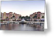 Bayfront Shopping Center And Marina Greeting Card by Rob Tilley
