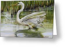 Bayou Caddy Great Egret Greeting Card
