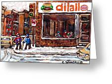 Scenes De Rue De Montreal St Henri Partie De Hockey En Hiver Hockey At Dilallo's Burger Greeting Card