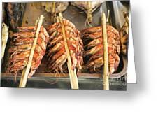 Bbq Fresh Grilled Prawns In Kep Market Cambodia Greeting Card