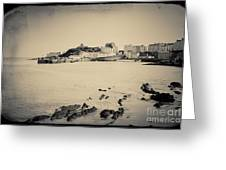 Beach And Harbour In Tenby Greeting Card