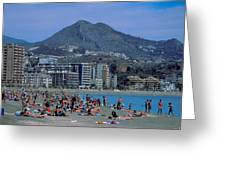 Beach At Barcelona In Spain Greeting Card