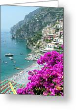 Beach At Positano Greeting Card