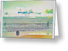 Beach Ball And Swimmers Greeting Card