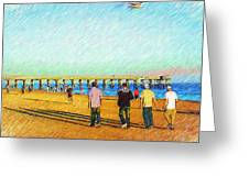 Beach Boys Greeting Card by Donna Bentley