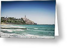Beach By Jaffa Yafo Old Town Area Of Tel Aviv Israel Greeting Card