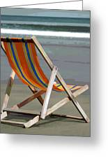 Beach Chair And Ocean Stripes Greeting Card