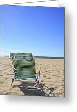 Beach Chair On A Sandy Beach Greeting Card