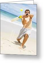 Beach Cricket Slog Greeting Card
