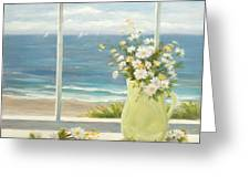 Beach Daisies In Yellow Vase Greeting Card