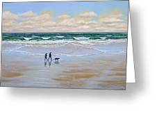 Beach Dog Walk Greeting Card