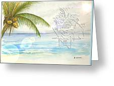 Beach Etching Greeting Card by Darren Cannell