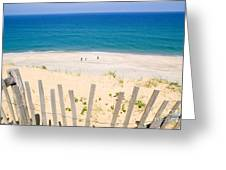 beach fence and ocean Cape Cod Greeting Card by Matt Suess