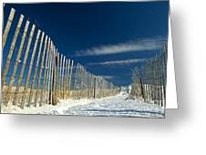 Beach Fence And Snow Greeting Card