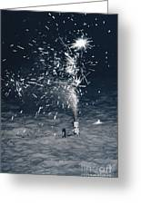 Beach Fire Works Greeting Card