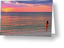 Beach Girl And Sunset Greeting Card