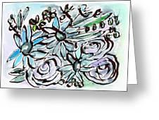 Beach Glass Flowers 2- Art By Linda Woods Greeting Card