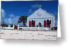 Beach Grand Turk Church Greeting Card