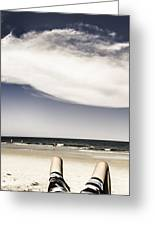 Beach Holiday Man Vertical Panorama Greeting Card