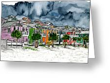 Beach Houses Watercolor Painting Greeting Card