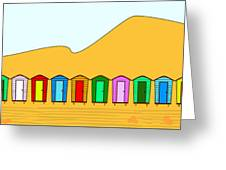 Beach Huts And Sand Greeting Card