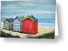 Beach Huts On The Sand Greeting Card