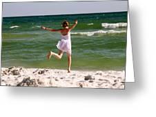 Beach Jump Greeting Card