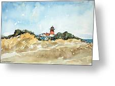Beach Light House Greeting Card
