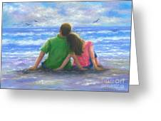 Beach Lovers Pink And Green Greeting Card