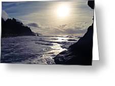 Beach - Oregon - Golden Sun Greeting Card